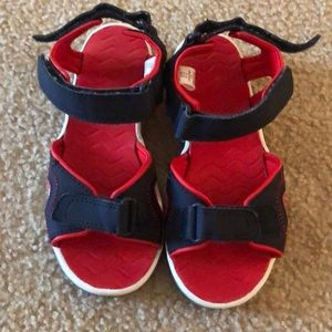 Lands' End blue and Red Velcro Sandals US1M
